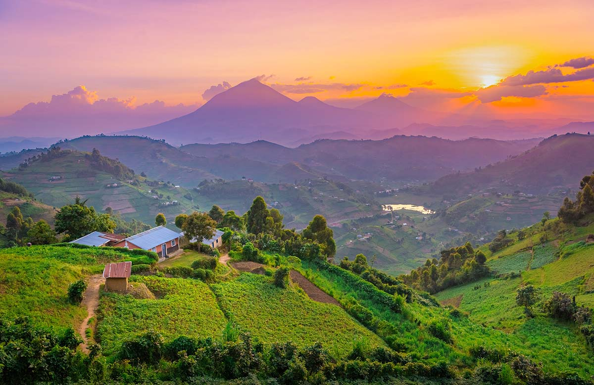 Kisoro Uganda Beautiful Sunset Over Mountains And Hills Of Pastu